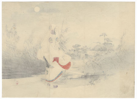 Beauty Strolling by Moonlight Kuchi-e Print by Toshikata (1866 - 1908)
