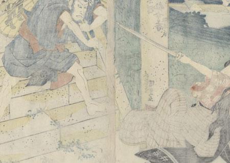 Ichikawa Danzo as a Commoner Threatened by a Beauty by Toyokuni III/Kunisada (1786 - 1864)