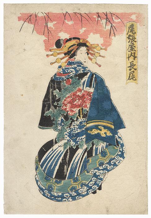 Courtesan in a Peony Kimono by Edo era artist (not read)