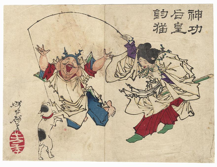 Empress Jingu Fishing for a Cat by Yoshitoshi (1839 - 1892)