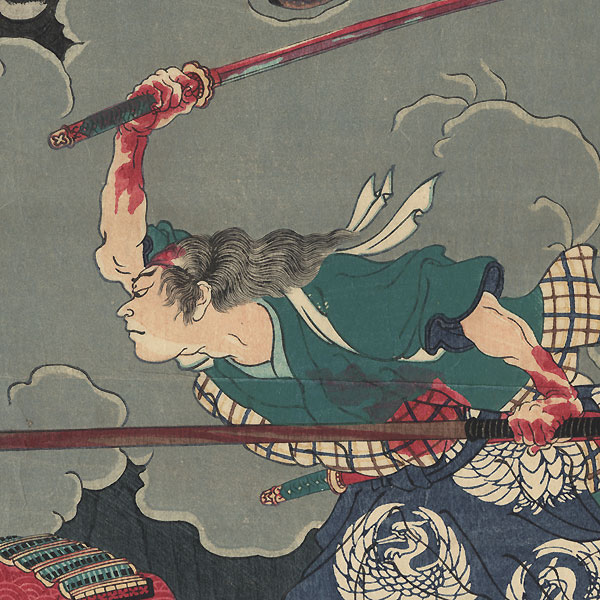 The Battle of Honno-ji Temple, 1868 by Yoshitoshi (1839 - 1892)