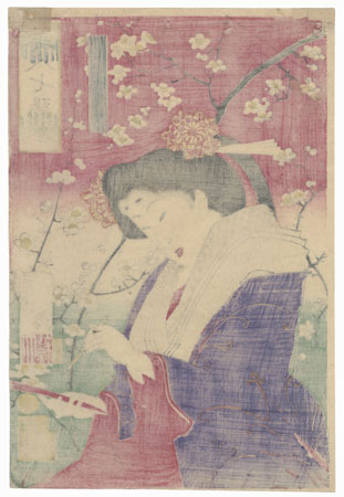 Beauty with Plum Blossoms  by Yoshitoshi (1839 - 1892)