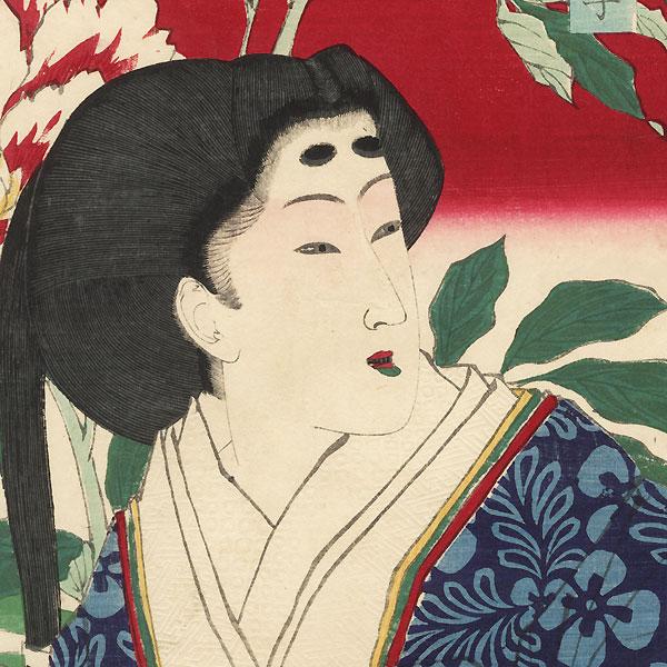 Beauty with Tree Peony by Yoshitoshi (1839 - 1892)