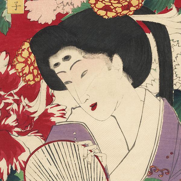 Beauty with Peony by Yoshitoshi (1839 - 1892)
