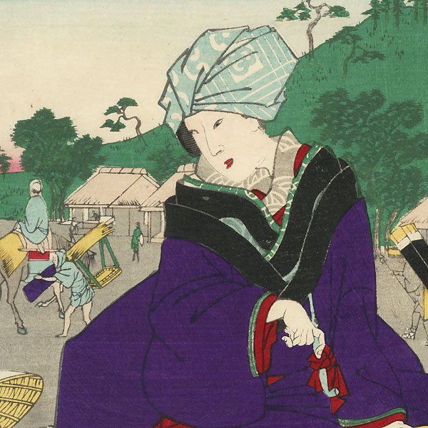 Futakawa in Mikawa Province: Woman Travelling by Pack Horse by Yoshitora (active circa 1840 - 1880)