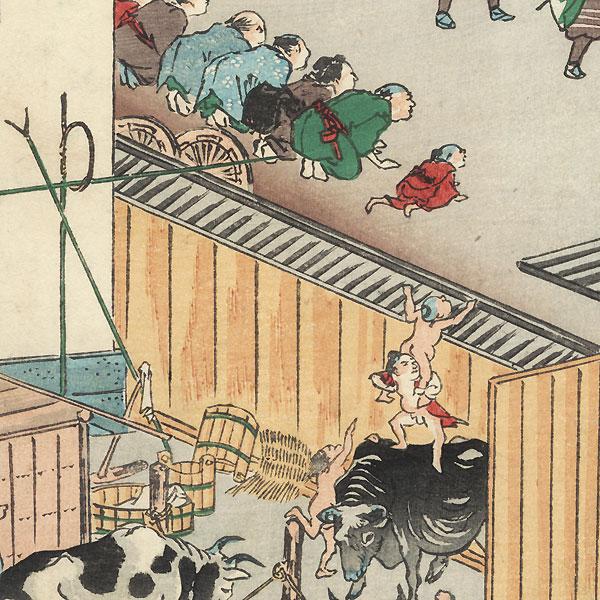 Cattle Sheds at Takanawa, 1863 by Kyosai (1831 - 1889)