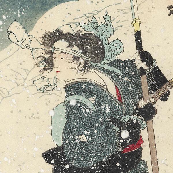 Takeda Kounsai's Mistress Tokiko in the Snow by Yoshitoshi (1839 - 1892)