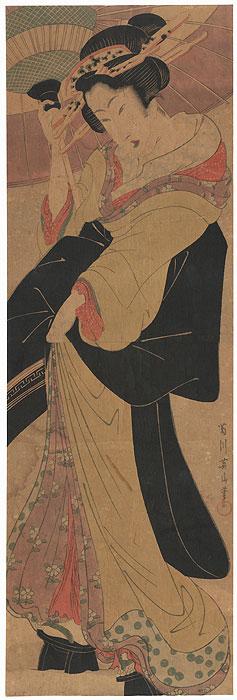 Beauty with an Umbrella in Snow Kakemono by Eizan (1787 - 1867)