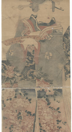 Beauty with a Poem Slip Kakemono by Edo era artist (unsigned)