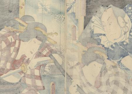 Scene from the Play Shinzo Tsuribune Kidan, 1852 by Toyokuni III/Kunisada (1786 - 1864)