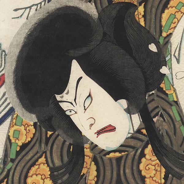 Nakamura Shikan IV as Otomo Kuronushi, 1872 by Kunichika (1835 - 1900)