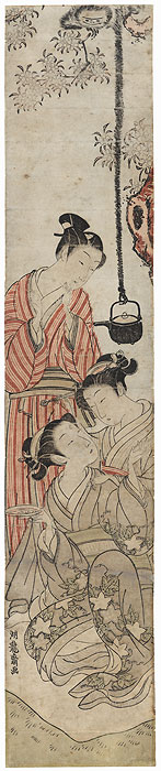 Picnic Party Surprised by a Gibbon, circa 1772 by Koryusai (1735 - 1790)