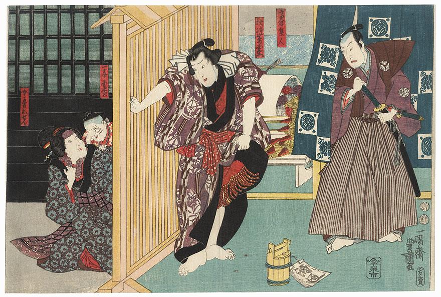 Wife Osen, the Sumo Wrestler Akitsushima Kuniemon, and Takakura Hayato, 1847 - 1852 by Toyokuni III/Kunisada (1786 - 1864)