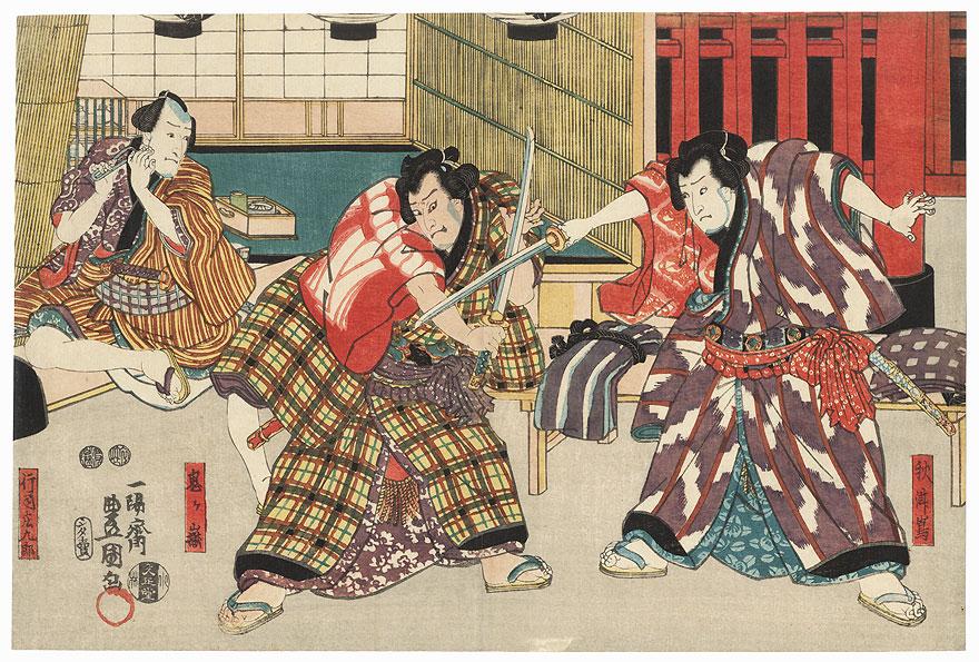 Wrestling Referee Shokuro and the Sumo Wrestlers Akitsushima and Onigadake, 1847 - 1852 by Toyokuni III/Kunisada (1786 - 1864)