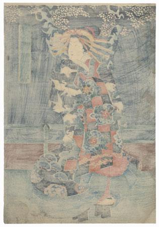 Courtesan under a Cherry Tree by Yoshikazu (active circa 1850 - 1870)