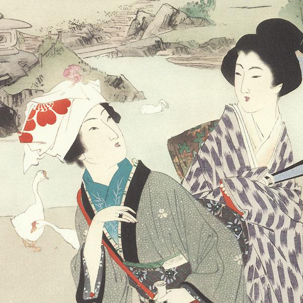 Three Beauties Kuchi-e Print by Toshikata (1866 - 1908) and Tomioka Eisen (1864 - 1905)