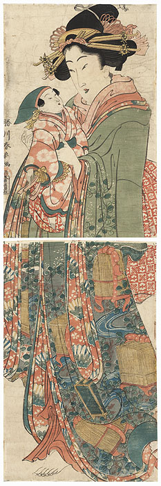 Beauty with a Doll Kakemono by Shunsen (1762 - circa 1830)