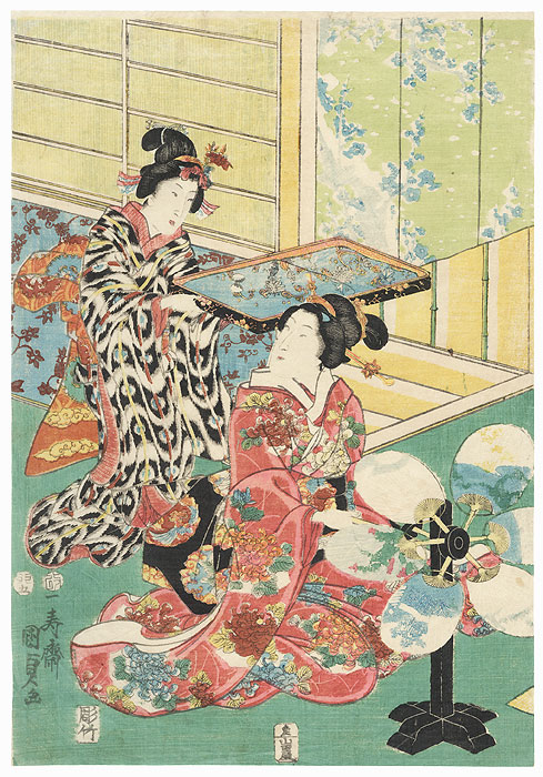 Beauty Turning a Fan, 1855 by Kunisada II (1823 - 1880)