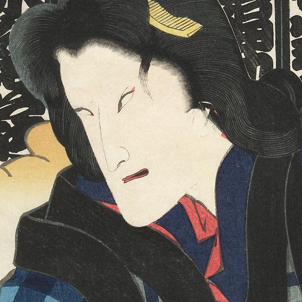 Woman Clutching a Dotted Cloth, 1865 by Yoshiiku (1839 - 1892)