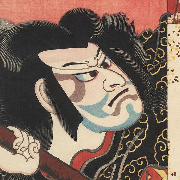 Bando Shuka I as the Spirit of the Komachi Cherry Tree and an Actor as Otomo Kuronushi, 1852 by Toyokuni/Kunisada (1786 - 1864) and Kiyomine (1787 - 1868)