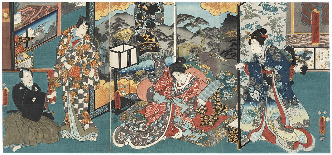 Genji and Beauty in a Bedroom, 1852 by Toyokuni/Kunisada (1786 - 1864)