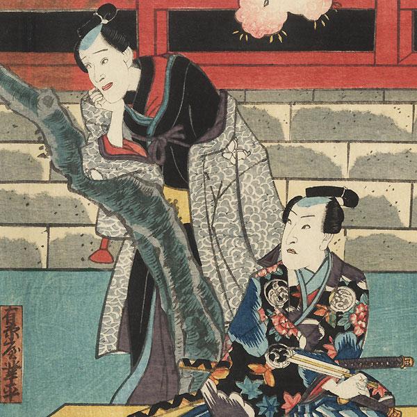 Daughter Okoma, Narihira, and Samurai Oguri Hangan, 1851 by Toyokuni III/Kunisada (1786 - 1864)