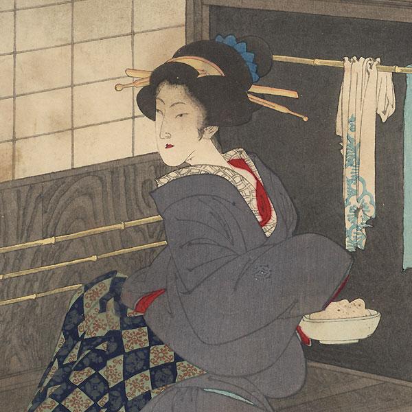 Widow of Lord Kido, Suikou-in, Feeding the Fugitive Kogoro by Toshikata (1866 - 1908)