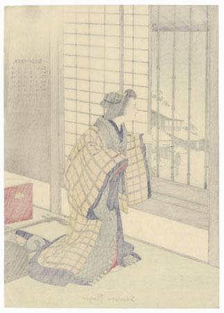 December: Shamisen Player by Meiji era artist (unsigned)