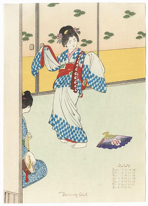 July: Dancing Girl by Meiji era artist (unsigned)
