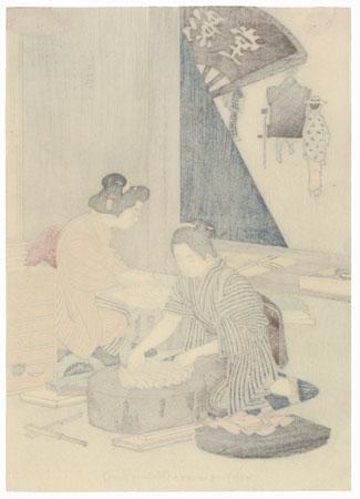 May: Working Women (Making Fans) by Meiji era artist (unsigned)