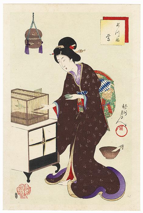 Bush Warbler by Chikanobu (1838 - 1912)