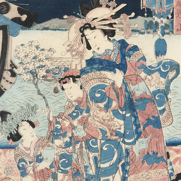 Flowers of the Night, a Collection of Beauties: Courtesans of the Naka-Manjiya by Kunisada II (1823 - 1880)