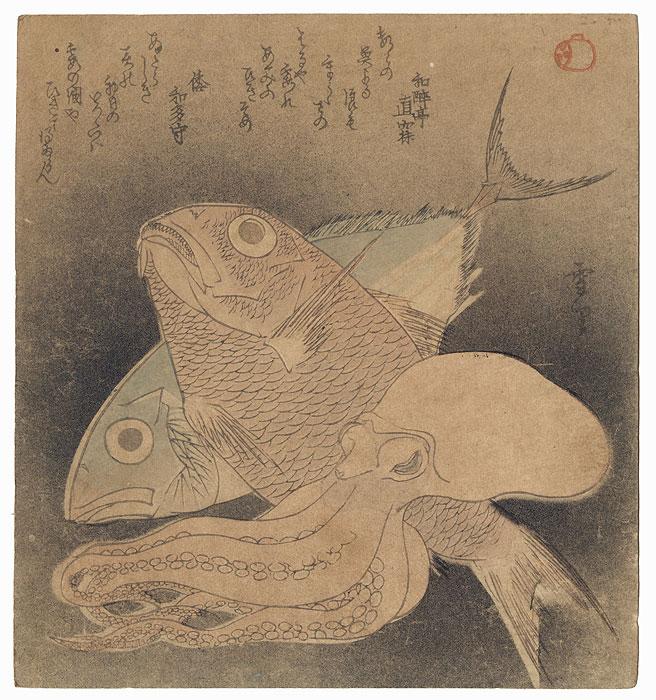 Octopus, Sea Brea, and Bonito Surimono by Setsuri (active circa 1820s)
