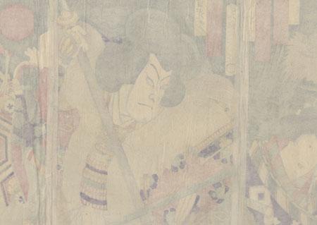 Takechi Mitsuhide Confronting a Servant by Kunichika (1835 - 1900)