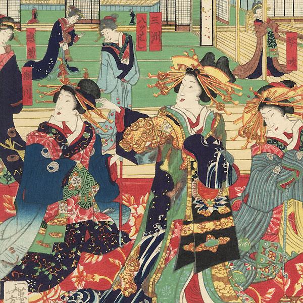 Courtesans at Leisure, 1869 by Yoshiiku (1833 - 1904)
