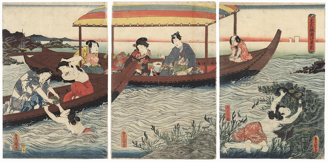 The Shining Prince Amusing Himself at the Seashore, 1858 by Toyokuni III/Kunisada (1786 - 1864)
