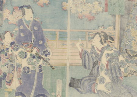 Prince Genji and Beauty in Springtime, 1865 by Kunisada II (1823 - 1880)