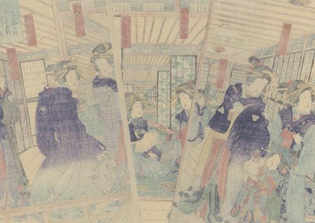 Courtesans in a Yoshiwara Teahouse, 1855 by Kunisada II (1823 - 1880)