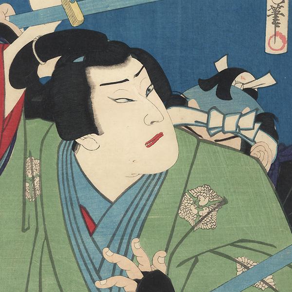 Gennosuke Fighting off Guards by Kunichika (1835 - 1900)