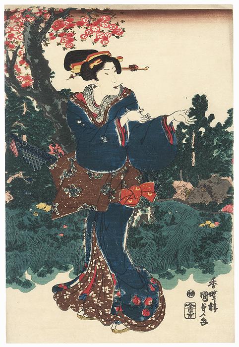 Beauty in a Garden by Toyokuni III/Kunisada (1786 - 1864)