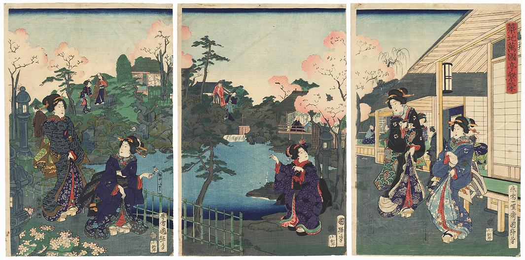 Prosperous Bankokutei at Tsukiji, 1869 by Kuniteru II (1829 - 1874)