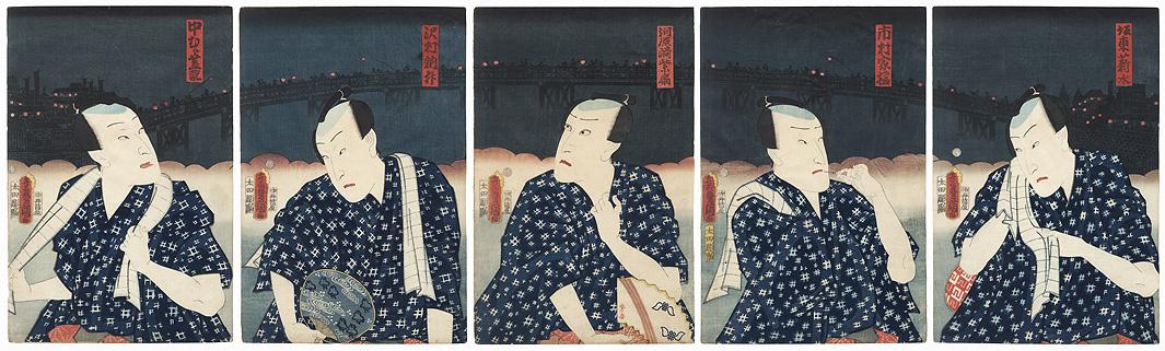 Five Chivalrous Men, 1862 by Toyokuni III/Kunisada (1786 - 1864)