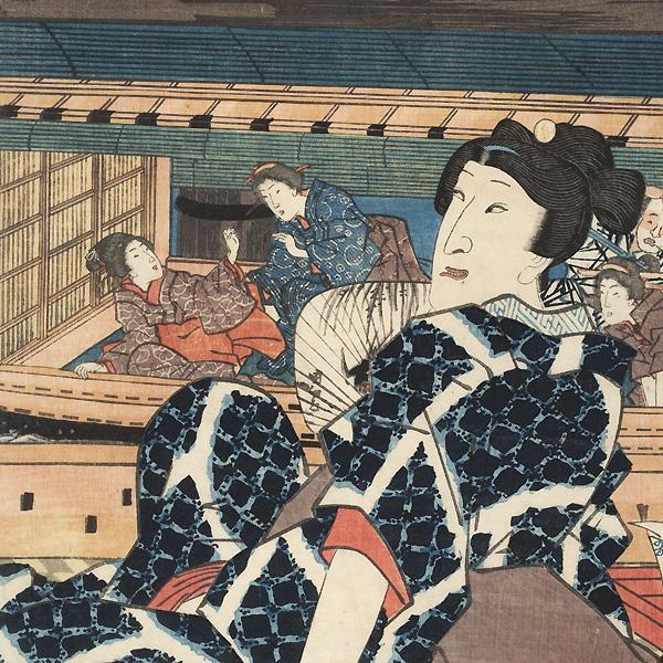 Evening Cool at Azuma Bridge, 1853 by Toyokuni III/Kunisada (1786 - 1864)