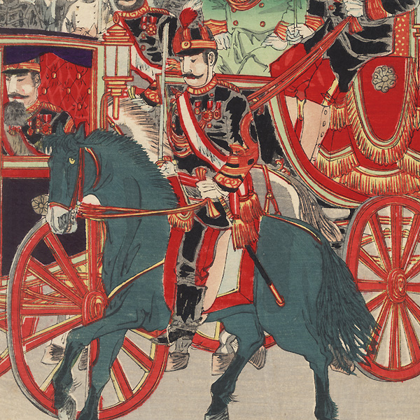 His Majesty the Commander-in-Chief Leaves Shinbashi by Carriage, 1894 by Nobukazu (1874 - 1944)