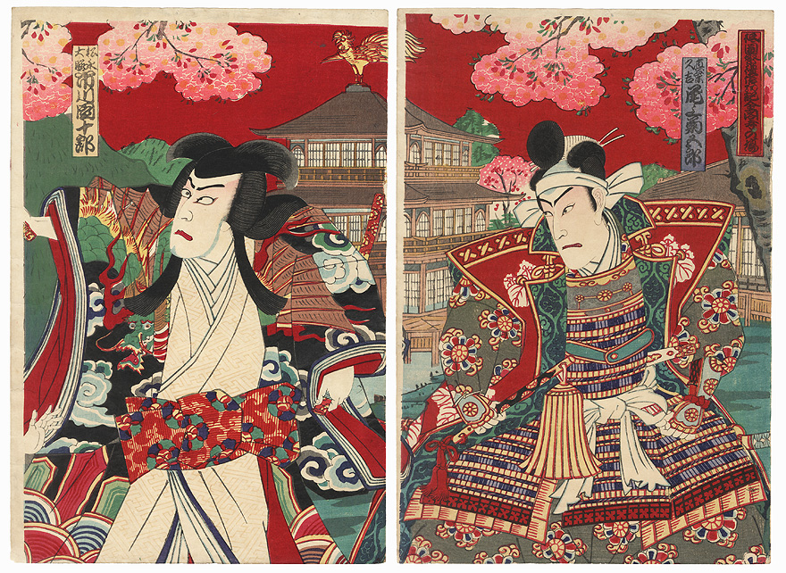 Warriors at the Golden Pavilion by Meiji era artist (unsigned)