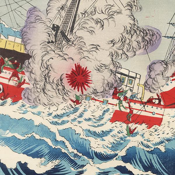A Naval Battle between Japanese and Chinese Warships, 1894 by Toshimasa (active circa 1894)