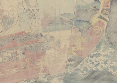 Takeshiuchi no Sukune [Kato Kiyomasa] Sails toward Korea, circa 1850 by Kuniyoshi (1797 - 1861)
