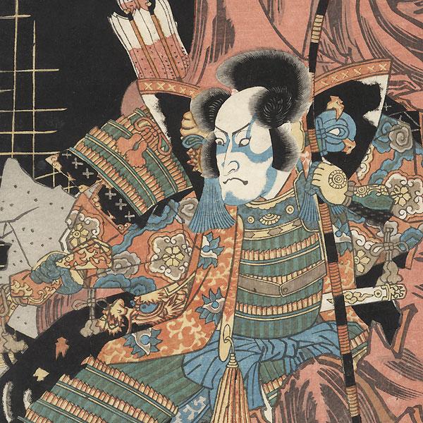 Confrontation in a Ruined Temple, 1833 by Toyokuni III/Kunisada (1786 - 1864)
