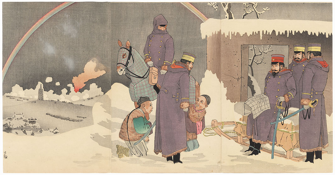 In Clear Weather after Snow, General Nozu Advances and Looks at Liaoyang, 1895 by Kiyochika (1847 - 1915)