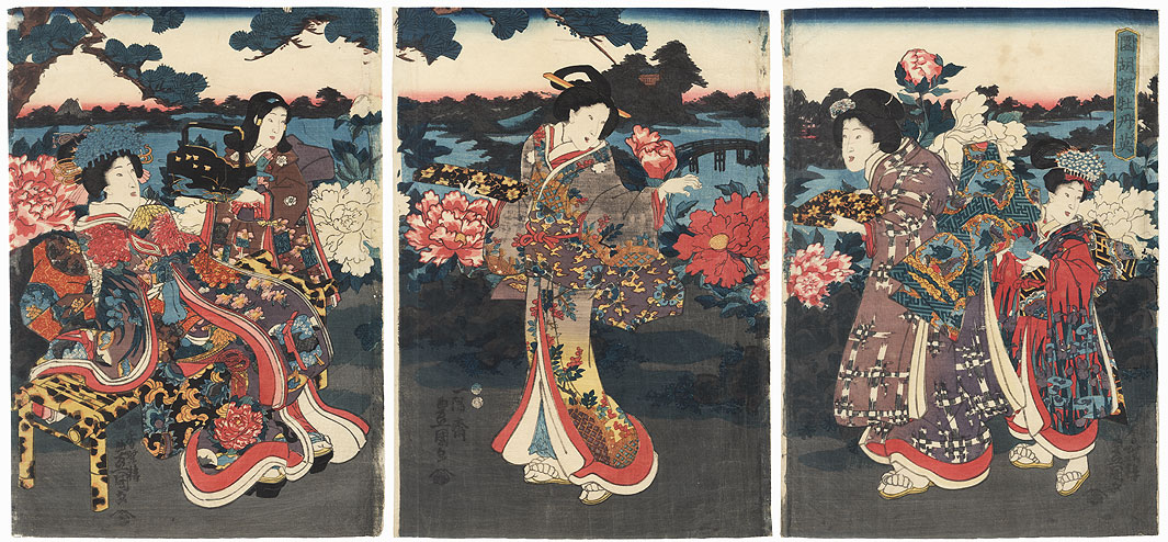 Tree Peony and Butterfly Garden, 1849 by Toyokuni III/Kunisada (1786 - 1864)